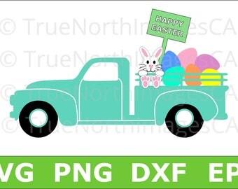 Easter SVG / Easter Truck SVG / Bunny SVG / Easter Egg svg / Happy Easter svg / Easter Clipart / svg Files for Cricut / Silhouette Files