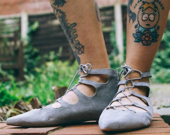 Grey Suede Sandals Lace Up Flats