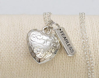 Fearless Charm Heart Necklace | Statement Necklace | No Fear | Isaiah 41:10 | Faith Jewelry | Christian Jewelry Gifts | Bible Based Gifts