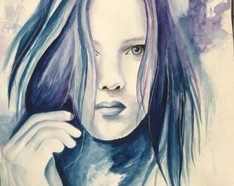 Purple and blue Watercolour Portrait