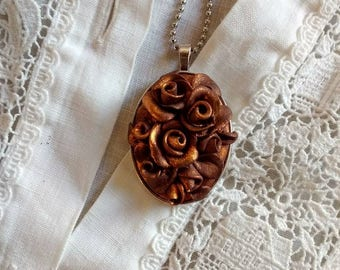 Rose Fimo Cameo Necklace