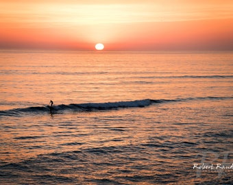 Surfer, Sunset, California, Coast, Fine Art Print, Pacific, Ocean, Waves, Solitude, Color, Travel Photo