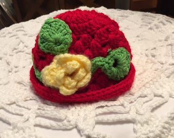 Handmade Crochet Work - Baby Girl's hat