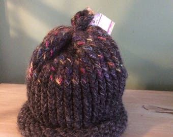 One of a Kind Hand Knitted Acrylic/Wool Blend Beanie Hat