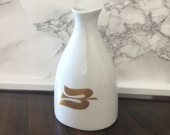 Porsgrund Norway Royal Viking Cruise Lines Gold Dove Vase