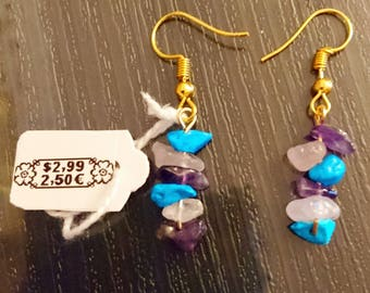 Rose quartz, turquoise earrings, and Amethyst