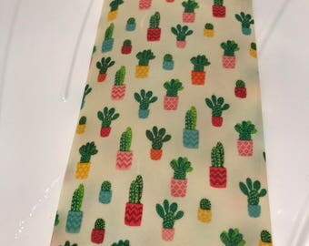 Reusable Cotton Beeswax Food Wrap Cactus Cacti Plant Pot Green Leaf Tropicana Pink Red Yellow Blue 20cm x 20cm Eco Friendly Zero Waste