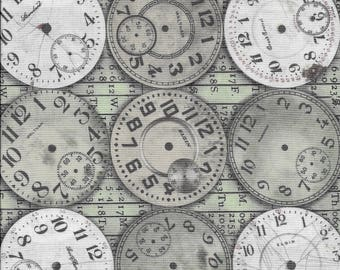 Clock Face Fabric, Steampunk Fabric, Timepieces Fabric, Tim Holtz Timepieces, Quilting Cotton, Eclectic Elements, Craft Fabric, Cotton Fabic