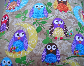 Owls Quilted Pillow Cover