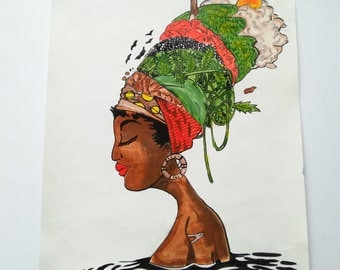 Mama Africa unframed painting/Wall hanging/Artifact/Painting/Drawing/Decoration/Acrylic Painting