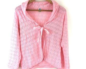 Vintage Bed Jacket To Fit Bust 34-36'' Pink Ribbon Crochet Shrug Cardigan Granny