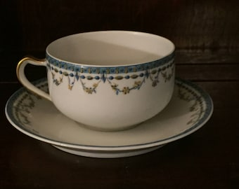 Vintage Haviland & Co. Tea Cup and Saucer, marked Limoges France