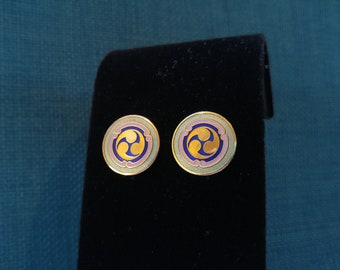 Vintage Laurel Burch Enamel Celtic Earrings- Irish Designs- Triskele- Triskelion- Enamel Jewelry- Smaller Earrings- St. Patrick's Day