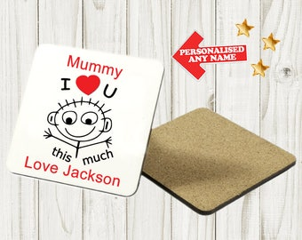 Personalised Mother's Day Coaster Custom Bespoke Idea Gift Best Mum Mummy Best Nan Nanny Grandma For Her Any Name SquareDE4