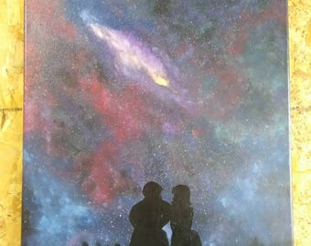 Silhouetted Couple Galaxy, Acrylic on Canvas Stretched on Wooden Frame