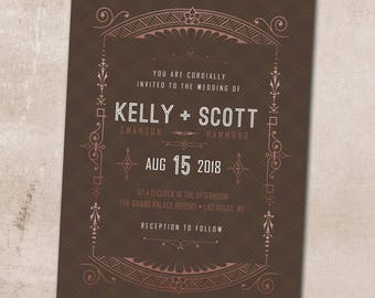 Wedding Invitation, Wedding Invitation with Matching RSVP and Other Information Card, Traditional Wedding Invitation