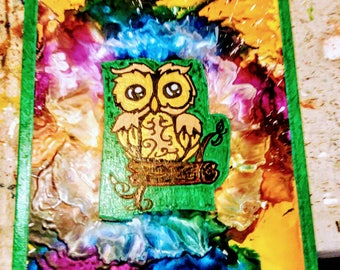 Owl Customized Melted Crayon Art