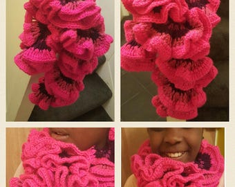 Pink Ruffled Scarf