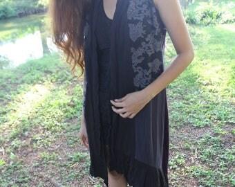 Patchwork Fairy Pixie Dress, Gypsy Boho Cloak, Festival Clothing, Psy Goa Trance Clothing, Tribal Clothing, Forest Dress. Pagan Dress