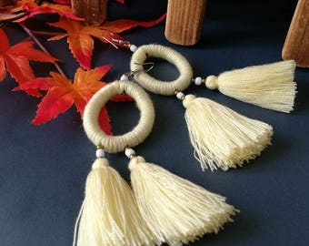 Handcraft White HoopTribal Ethnic Earrings Statement Dangle Drop Gypsy Boho Chic Tassel Wedding Earrings