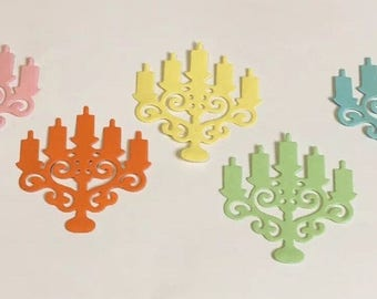 Die Cut Shapes 10 Pack - Candle Sticks, Card Craft, Scrap booking, 5 Colours - Blue, Green, Yellow, Pink, Orange