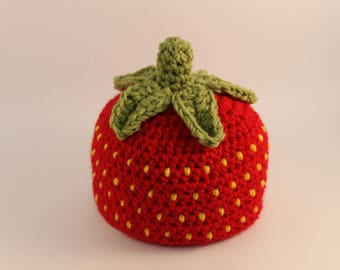 Crochet Strawberry Baby Hat