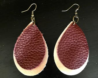 Teardrop Leather Earings