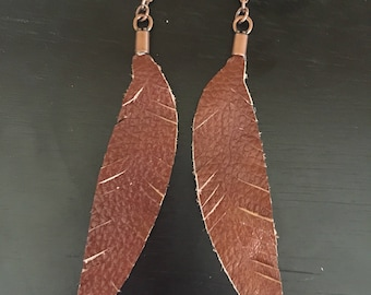 Brown Detailed Leather Feather Earrings