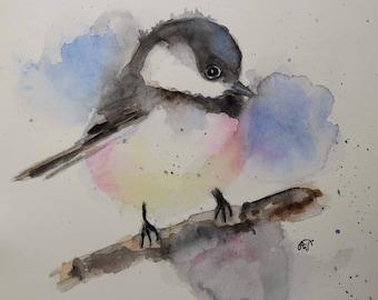 Cute titmouse chickadee Bird art watercolor Original painting