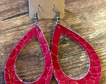 Red faux leather drop earrings with bronze accents
