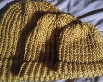 Yellow Loom Knit Hat | Handmade for Babies/Toddlers | Hand 'n' Loom Custom Knit Hat - Beanies Crafted Using Lion Brand Yarn