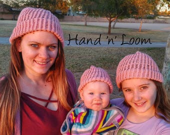 Pink Loom Knit Hat | Handmade for Children/Preteens | Hand 'n' Loom Custom Knit Hats - Beanies Crafted Using Lion Brand Yarn