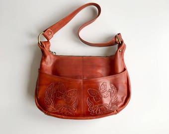 Vintage Hand Tooled Leather Handbag, Vintage Tooled Leather Western Purse, Vintage Leather Purse for Doris