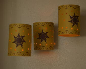 3 Rapunzel Hanging light up lanterns, party decoration