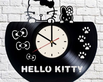 Hello Kitty Vinyl Clock Handmade Home Bedroom Living Kids Room Nursery Wall  Decor Gifts Idea For