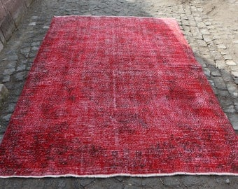 Red Color King Size Rug Free Shipping Overdyed Rug 6.2 x 9 ft. Handknotted Area Rug Floor Rug Oushak Rug Bohemian Rug Aztec Rug MB126