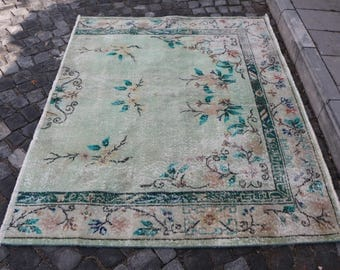 Oushak rug, Free Shipping 4.7 x 6.1 ft. anatolian area rug, floor rug turkish decorative rug, handknotted rug, muted color kitchen rug MB264
