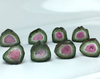 22.30 Carates Very Beautiful and Amazing Faceted Watermelon Color 8 Pieces Tourmaline Slice From Afghanistan.