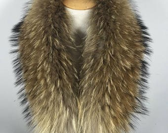 100% raccoon fur luxury scarve