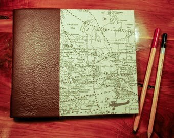 World Traveler's Journal with Brown Leather Spine