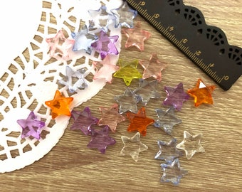 50 x Transparent Starlets-Clear stars Beads