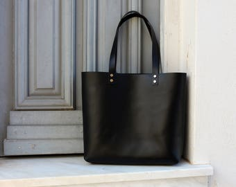 Tote bag Tote bag with pockets Large leather tote bag - Black leather Tote - Hand stitched shopper bag - with inside pocket