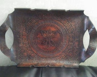 Hand Engraved Leather Tray