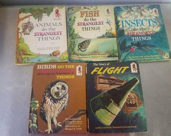 Lot of 5 Step up books - Animals Birds Fish Insects Do the Strangest Things + Story of Flight