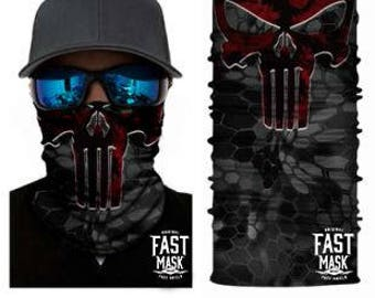 Crimson Punisher Face Shield - Free Shipping to Canada & USA  - 100% Microfibre | Face Mask | Biker Face Shield | Bandana | Tubular Bandana