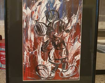 Original acrylic painting abstract of a Mickey Mouse