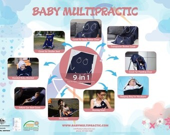 Baby Multipractic 9in1:cover for stroller,feeding chair,car seat,transporter,relax chair,nursing cover,play mat,sleeping bag,hooded blancket