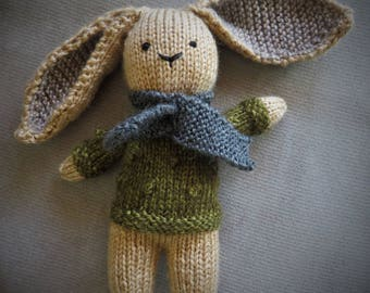 Hand Knit Bunny Stuffie Toy