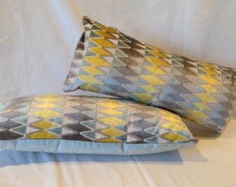"""22""""x 10"""" Lumbar Pillow in Zig Zag Velvet Jacquard  and silky velvet back"""