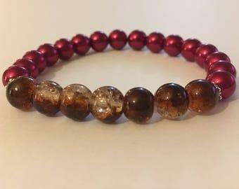 Women's Red Bracelet,  Red Beaded Bracelet, Red Bracelet